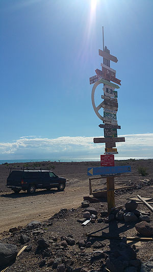 Primitive signpost on Baja's Hwy 5