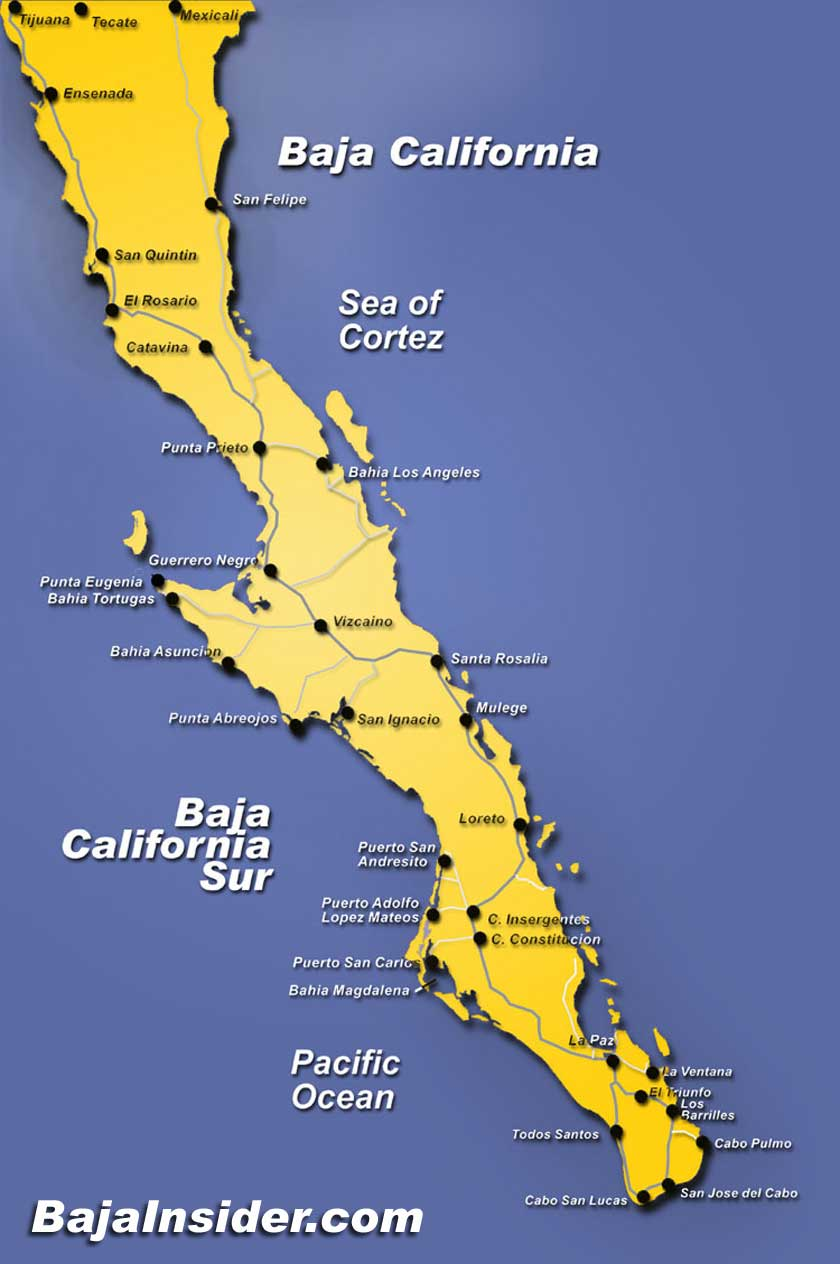 Map of the Baja California Peninsula of Mexico – The states of Baja California and Baja California Sur