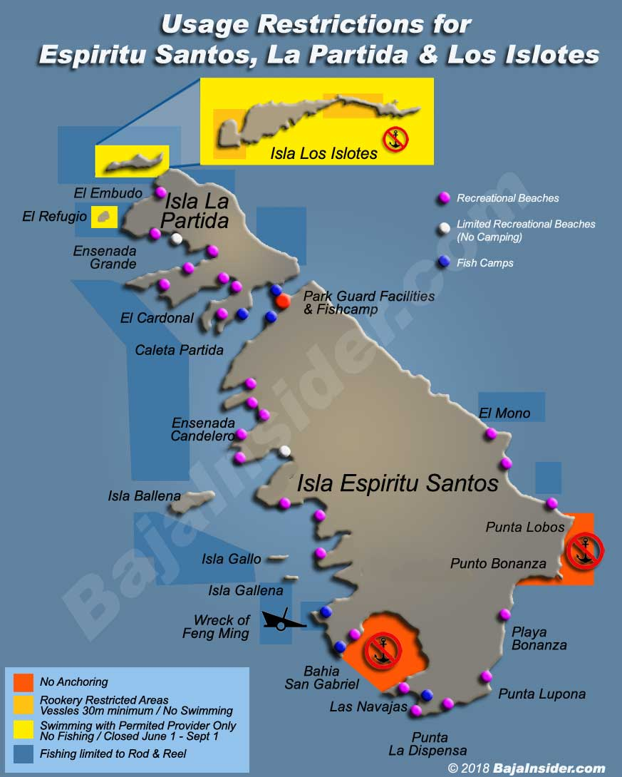 Usage Restrictions for Isla Espiritu Santos in the Sea of Cortez