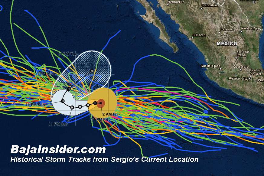 No previous tropical cyclone has threatened Baja from Sergio's current location