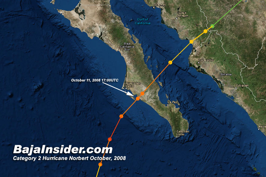 Category 2 Hurricane Norbert crossed the peninsula on October 11, 2008