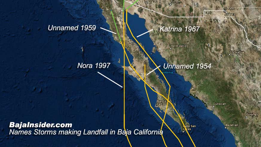 Since 1948 only four previous storms have threatened the northerns state of Baja California