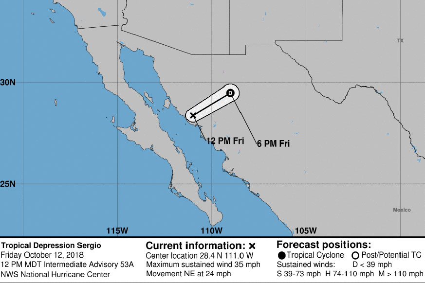 5 Day Forecast for Tropical Cyclone Sergio