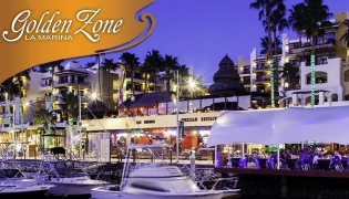 Looking across the Cabo Marina at the Golden Zone for fine dining