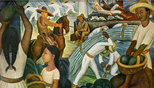 Revolutionary mural depicting pre-revolutionary life that lead to ejidal policies of Emilio Zapata