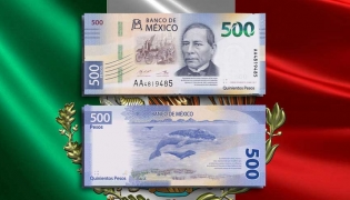The new $500 peso note is the first of a family of new bills to be issued by the Bank of Mexico in coming months.