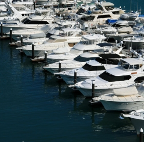 Aerial view of the outer basin of Marina CostaBaja, for larger yachts to 250'