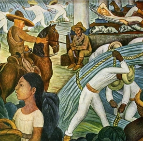 Mural of the Mexican revolution of 1910 that resulted in the current Mexican Constitution