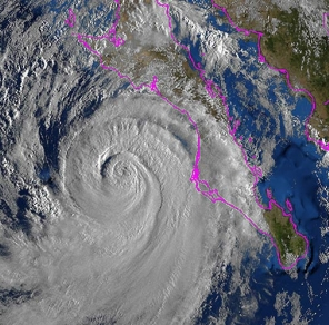 Hurricane Norbert off the west coast of Baja California Sur