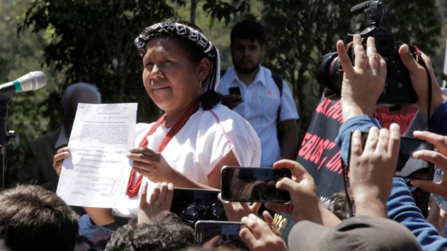 Maria de Jesus Patricio Martinez, an indigenous woman shows the document after she registered to run as an independent candidate