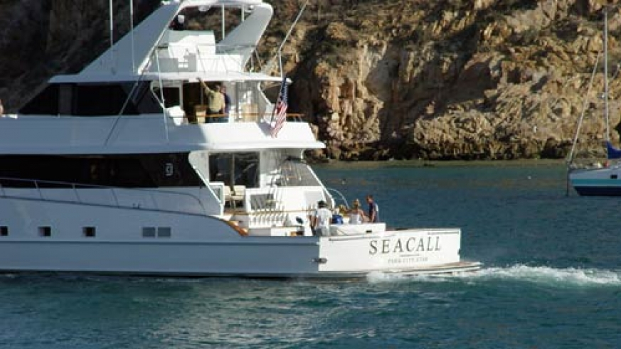 Luxury yacht leaving the Cabo San Lucas marina