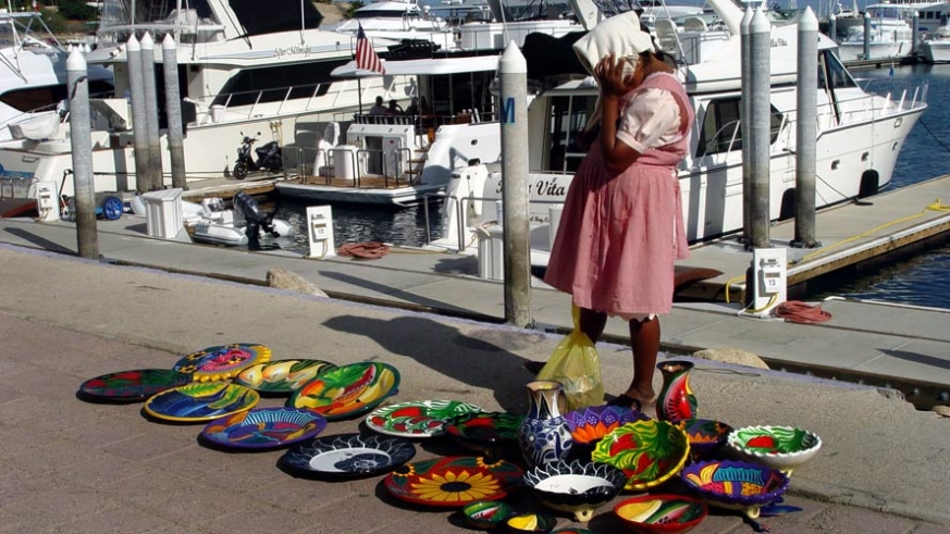 Street shopping in Cabo San Lucas from marina side vendors