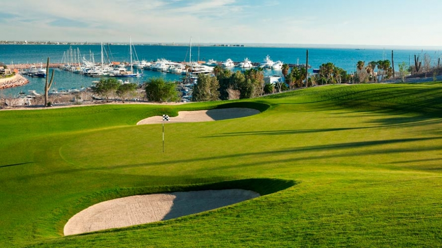 The Gary Player Signature Course at CostaBaja over looking the Marina and the Sea of Cortez
