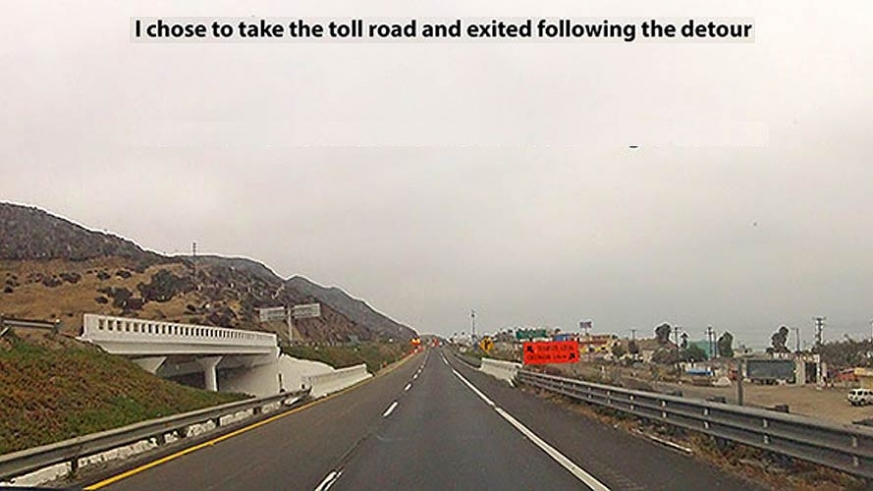 Detour for the washout of the toll road to Ensenada