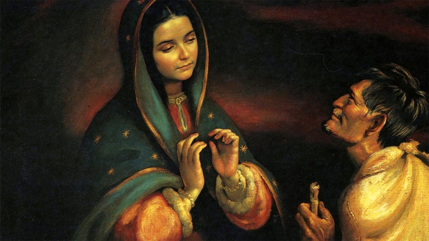 18th Century painting of the meeting of the Virgin of Guadalupe and Juan Diego
