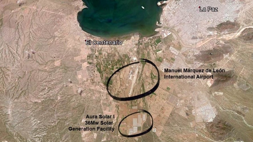 Satellite view map of the Aura Solar Generation Facility in La Paz