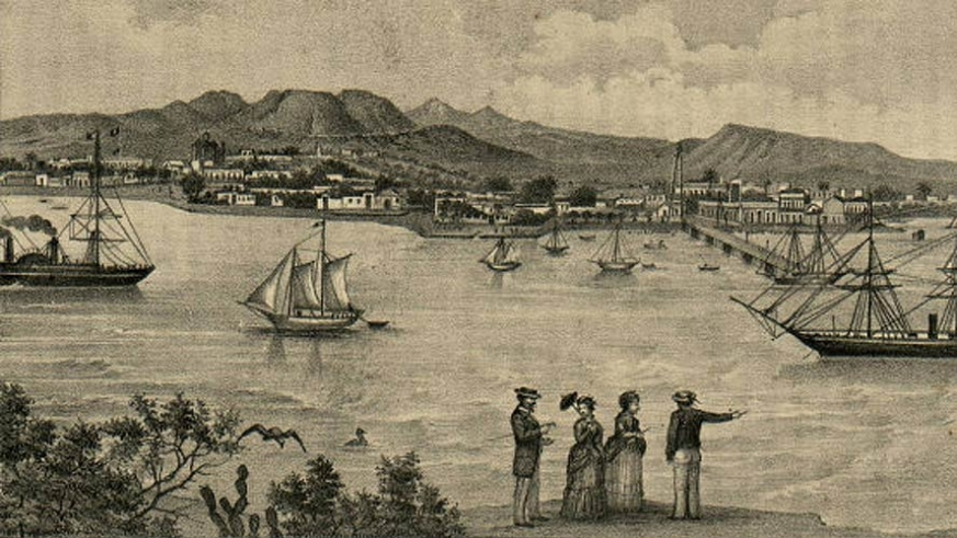 An artist's view of La Paz showing the small Sea of Cortez side town founded on the pearl trade, circa 1890
