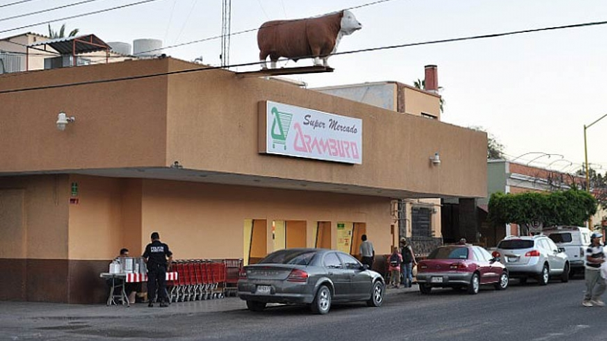 Aramburo's Market has been at this location since the 1930's, also know as the cow store, the fiberglass beast unflinchingly weathered Category 4 Hurricane Odile