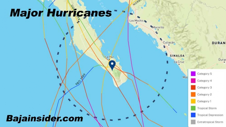 Major Hurricanes rarely make Baja landfall with the exception of Category 3 Kiko and Odile