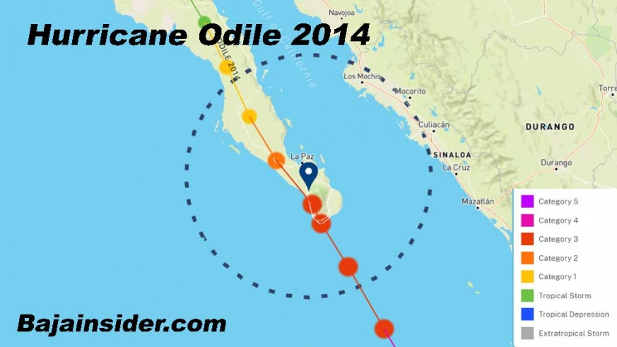 Major Hurricane Odile 2014 - the most powerful storm to make landfall in Baja. The data was downgraded to a Category 3 at landfall.