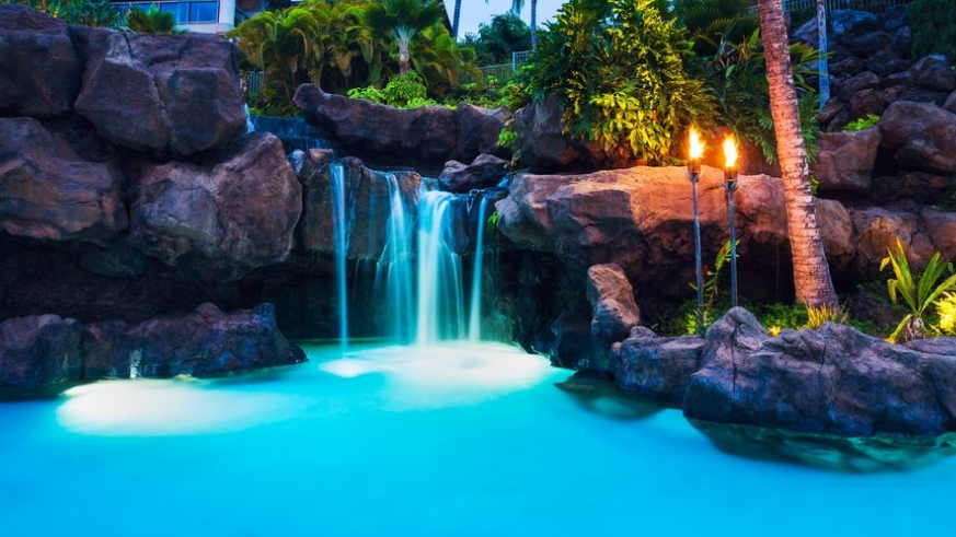 Night view of Pool and Waterfall