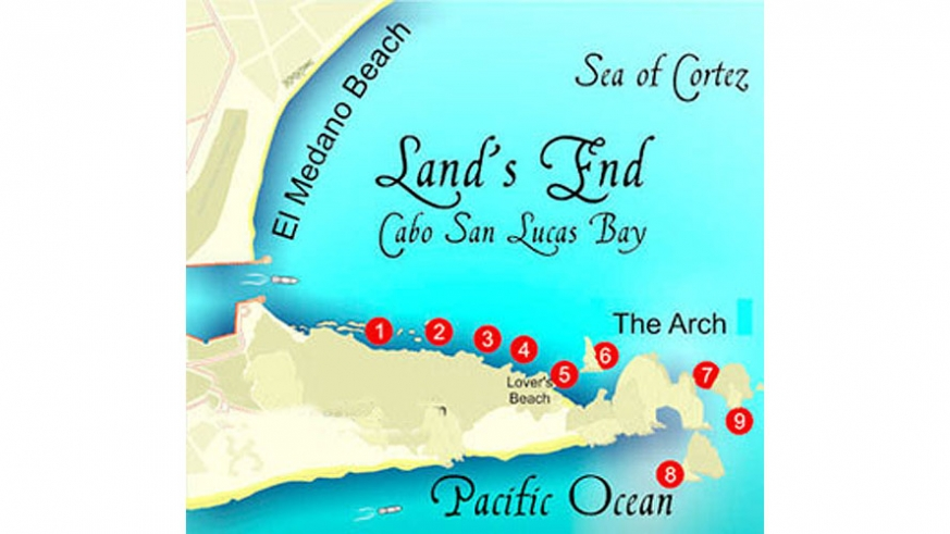 Map of popular scuba and snorkel locations at Land's End
