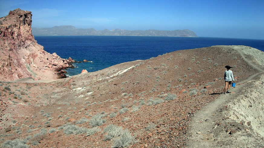Hiking the ridge of Isla San Francisco in the Sea of Cortez