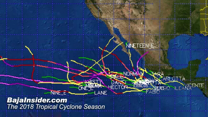 Composite paths of 2018 Tropical Cyclones in the Eastern Pacific.