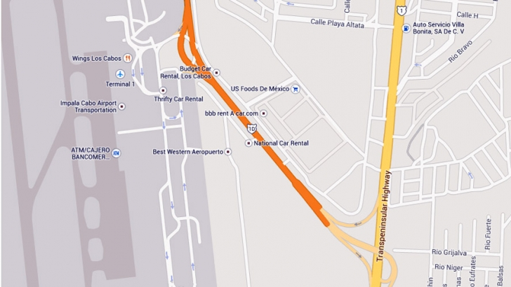Map of the Los Cabos Airport SJD