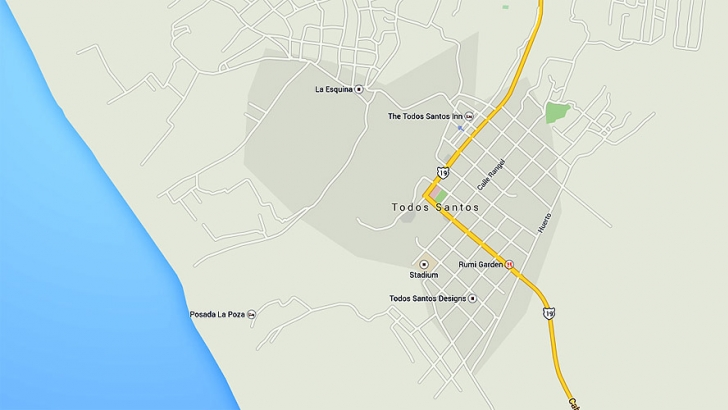 Map of Todos Santos, Baja California Sur, Mexico
