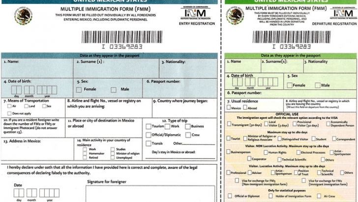 Sample Mexican tourist visa