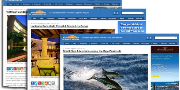 Sample content advertising pages on the BajaInsider.com