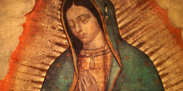 """Section of the original 'tila"""" image of he Virgin of Guadalupe"""