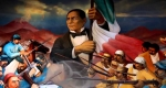 Mural showing President Benito Juarez bringing revolution as the first native Mexican President