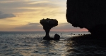 Mushroom Rock in Balandra at sunset today, restored to its position after the 2005 fall