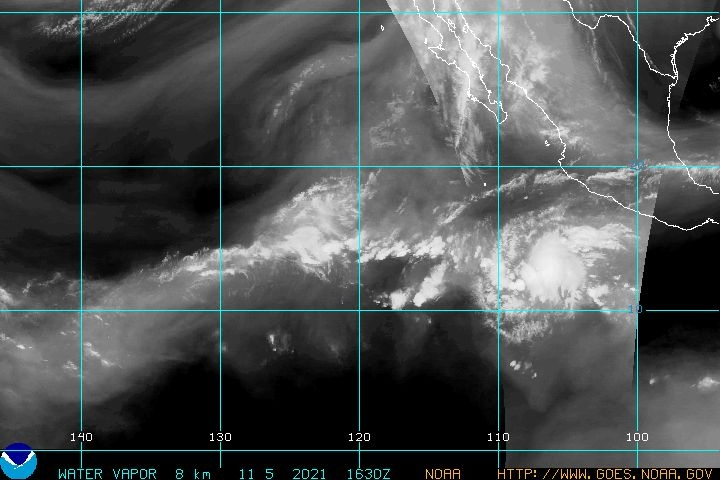 Eastern Pacific Water Vapor Satellite Image