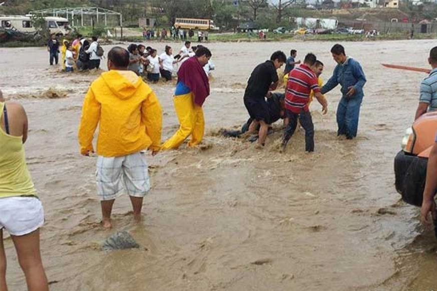 San Jose Del Cabo experienced extensive flooding, here closing Hwy 1