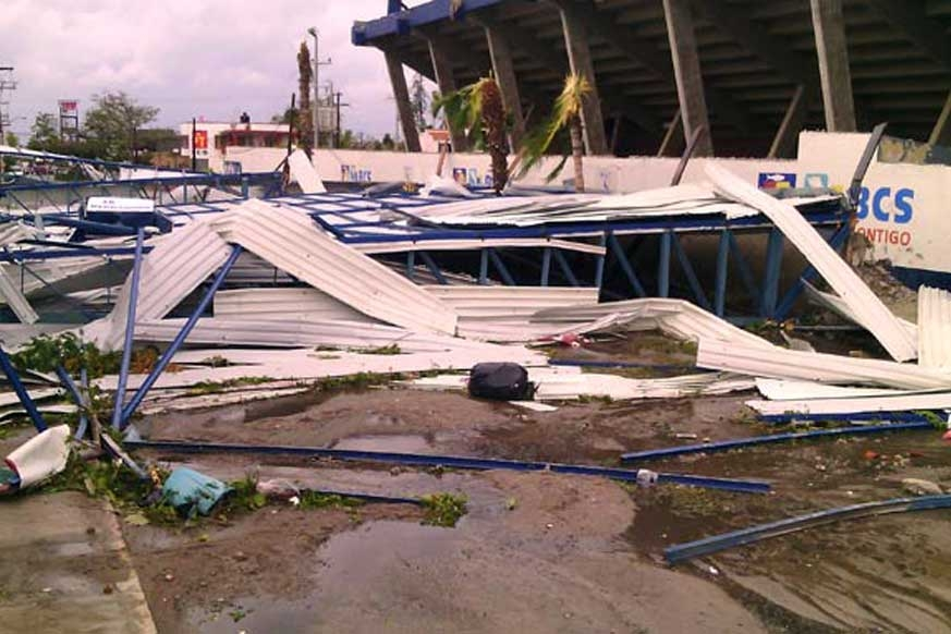 The upper loge of Naul Stadium in La Paz was ripped off and deposited in the street